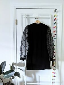 Parisian black mini dress with sheer polka dot sleeve - size 14