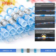 100PCS Blue Solder Sleeve Heat Shrink Butt Waterproof Wire Splice Connector US