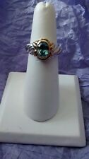 Sterling silver, Gold Over Silver Blue Topaz Ring