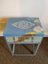 Upcycled Hand Painted Shabby Chic Blue/cream Floral designBedside table/drawset