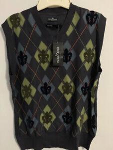 Marc Ecko Cut & Sew Argyle Fleur Vest Mens s New