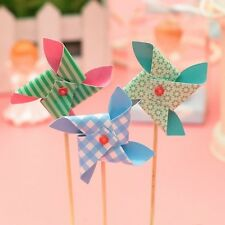 6pcs Mini Windmill Toppers Picks for Birthday Party Cake Baking Party Decoration