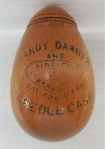 ANTIQUE WOOD EGG SHAPE HANDY DARNER NEEDLE CASE a very rare piece!