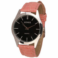 Ladies Fashion Silver HONHX Quartz Black Face Pink Band Wrist Watch.(Aussie)