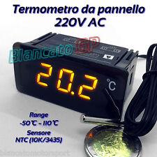 TERMOMETRO DIGITALE -50°C 110°C DA PANNELLO AC DC 220V sonda temperatura NTC 10k