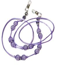 Reading Eye glasses spectacle chain holder lanyard Purple Beaded Cord Sparkly
