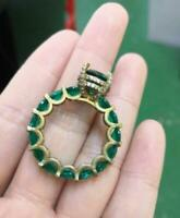 Unique Design 3Ct Round Cut Green Emerald Engagement Ring 14K Yellow Gold Finish
