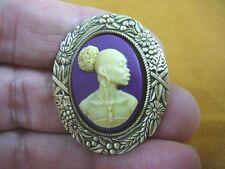 (CA10-8) RARE African American LADY purple + ivory CAMEO Pin Pendant JEWELRY