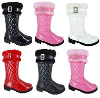 NEW KIDS GIRLS FLAT QUILTED INFANT FUR MID CALF SCHOOL WINTER BOOTS UK SIZE 7-3