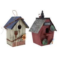 2 x Hand-painted Wooden Birdhouse Outdoor Garden Decoration