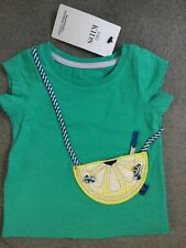 "M&S GREEN T.SHIRT WITH ""HANDBAG"" SEWN ON & OPENING GLITTER LEMON BAG-3-6m BNWT"