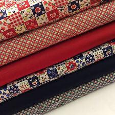 Cotton Fabric Fat Quarter Bundle x 6 Fabrics