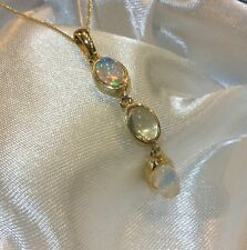 1.5 Ct, Ethiopian Welo, Opal Pendant & Chain, 14K Y Gold Overlay Sterling Silver