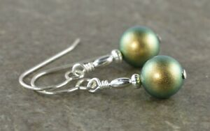 Iridescent Green Pearl & Sterling Silver Drop Earrings with Gift Box