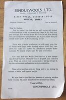 Senduswools LTD Reminder Letter Detailing Price of Wool & Transport Ossett Yorks