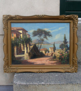 G. Caprino.  View At the lake Garda. Italy. Ca 1930. Fine oil.