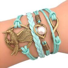 Bracelet Infinity Hunger Games Perles Cœur Infini Karma Geai Moqueur Bleu ciel