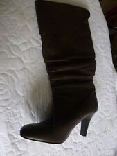 ladies brown calf length boots size 7 3 inch heal man made folded top