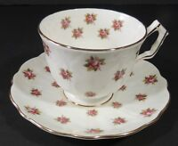 Aynsley England Bone China Tiny Rose Gold Trim Tea Cup & Saucer Excellent