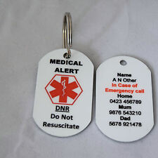 Personalised Medical Alert Keyring - DNR (Do Not Resuscitate)