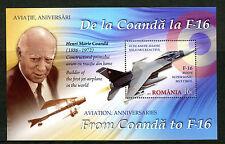 Romania 2016 Gomma integra, non linguellato AVIAZIONE Anniversari Coanda a f-16 1v M/S FRANCOBOLLI