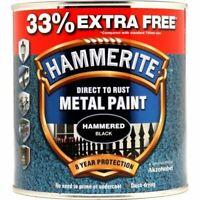 HAMMERITE DIRECT TO RUST METAL PAINT HAMMERED BLACK 750ML +33% EF 5158237