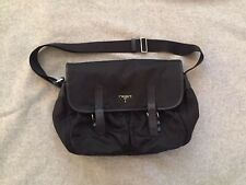 PRADA  Black Nylon Classic Crossbody Messenger Bag w/ Leather Trim