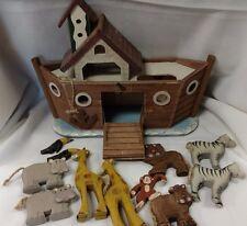 WOODEN NOAH'S ARK BOAT WITH ANIMALS WORKING STORAGE DOOR