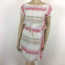 86aa65292a16 Ann Taylor LOFT Womens Dress Size XS 100% Linen White Striped Gray Pink