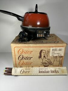 Vintage Oster Electric Fondue Set Flame Red With 6 Forks & Original Box 681-07
