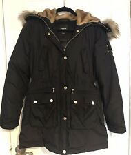 Bebe Black Gold Hardware Faux Fur Hooded Puffer Jacket XS