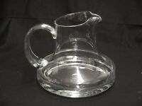 "BEAUTIFUL STUDIO ART HAND BLOWN CLEAR GLASS WIDE BOTTOM PITCH/CARAFE 6"" TALL"