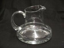 "BEAUTIFUL STUDIO ART HAND BLOWN CLEAR GLASS WIDE BOTTOM PITCH/CARAFE 6"" TALL"