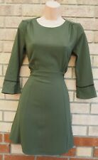 H&M KHAKI GREEN LONG SLEEVE FIT FITTED A LINE SKATER CASUAL MINI TEA DRESS 8 10