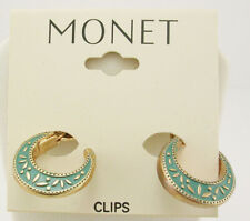Monet Enameled Hoop CLIP ON Earrings  3/4""