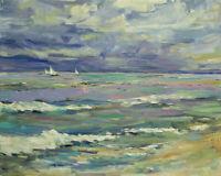 Art Original Oil Painting by RM Mortensen Seascape Coast Beach Clouds 16x20