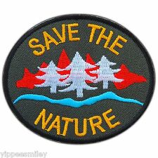 SAVE THE NATURE Tree Woodland Love Earth Ecology Logo Iron On Patch Jacket #0525