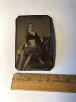 Vintage Tintype Victorian Photo Child Girl Antique Tin Type