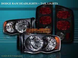 2002-2005 Dodge Ram 1500 / 03-05 2500/3500 Headlights Black + Tail Lights Combo