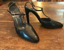 1970's 80's Charles Jourdan Paris Black T Strap High Heels Disco Shoes 7 B