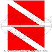 """SCUBA DIVE DOWN Diver Flag DIVING 3"""" (75mm) Vinyl Bumper Stickers, Decals x2"""