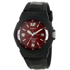 Casio MW600F-4A Men's Black Resin Band Red Dial 100M Analog HD Series Watch