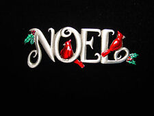 """JJ"" Jonette Jewelry Silver Pewter 'NOEL with Cardinals' Christmas Pin"