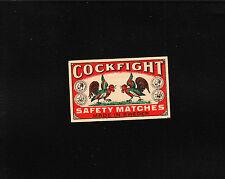 VINTAGE Match Matchbox Label DEEP RICH COLOR Cock Fight Rooster Sweden E1