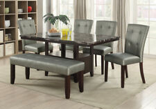 6 pcs Dining Set Rectangular Faux Marble Table Top Silver Tufted Pu Chair Bench