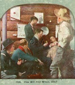 Antique Western Stereoview- Death Of Miner Bill- Cowboy- Cabin- Doctor Prognosis