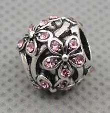 Pink Crystal Daisy Meadow Flower Charm For European Bracelets Silver Plated