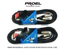 PROEL BULK250LU5 CAVO BILANCIATO MICROFONO CASSE CANNON XLR M/F SET 2 CAVI da 5m