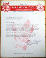 'Pan American Circus' - 1975 Letterhead w/Clown & Tiger - Newark, NJ