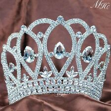 Large Tiara Miss Beauty Pageant Crown Rhinestone Wedding Prom Party Costumes New